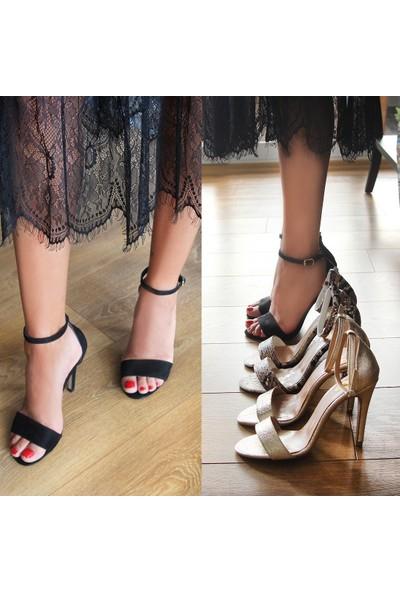 Gökhan Talay Style Siyah Süet Topuklu Ayakkabı