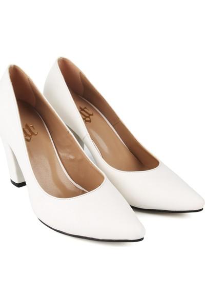 Gökhan Talay Zara Beyaz Renk Kalın Topuklu Stiletto