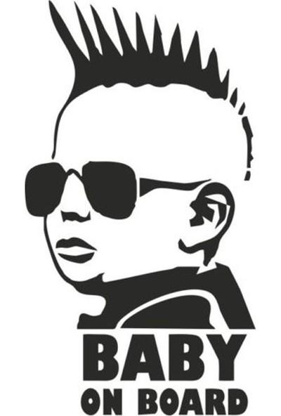 Areksan Reklam Baby On Board Çocuk Arabada Bebek Var Oto Sticker Siyah