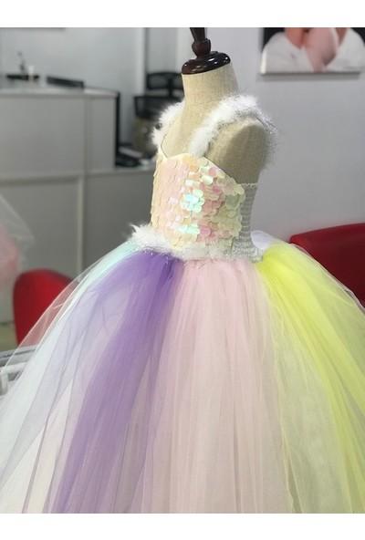 Butikhappykids Unicorn Kostüm Kasnaklı Kabarık Model My Little Pony Kostüm Elbise Taç