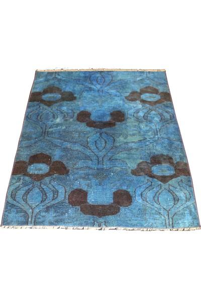 Durusel Halı El Dokuma Yün Mavi Halı 103 x 130 cm