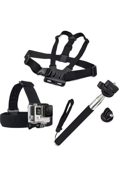 KingMa GoPro Uyumlu Göğüs Askısı + Kafa Bandı + Monopod Seti
