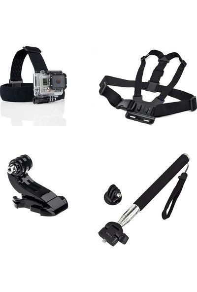 KingMa GoPro Uyumlu Kafa Bandı Göğüs Askısı Monopod ve J-Hook Aksesuar Seti