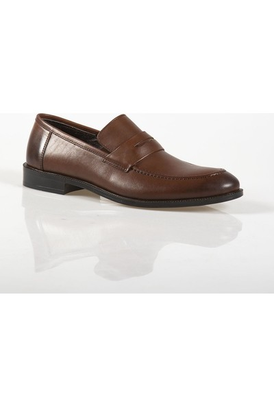 Ayakkabı Çarşı Klasik Bağcıksız Sütlü Kahve Deri Ayakkabı CNR036