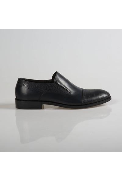 Klasik Bağcıksız Lacivert Deri Ayakkabı CNR046