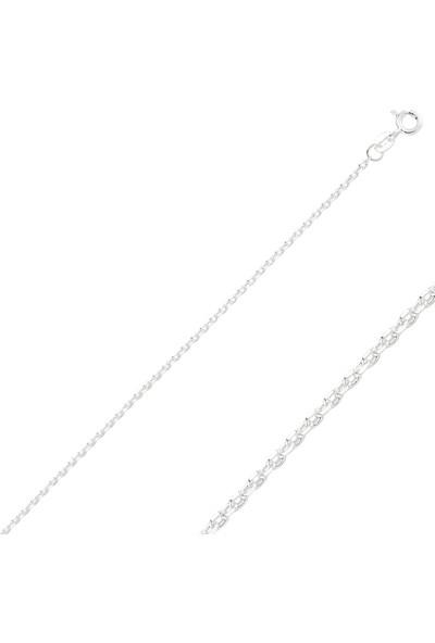 Tevuli Gümüş 925 Ayar 60 Mikron Tıraşlı Forse Zincir Kolye