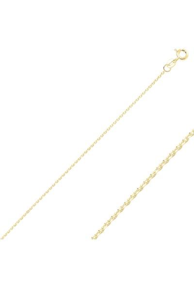 Tevuli Gümüş 925 Ayar 30 Mikron Tıraşlı Forse Altın Kaplama Zincir Kolye