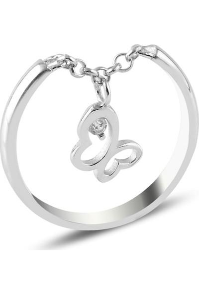 Tevuli Gümüş 925 Ayar Zirkon Taşlı Sallantılı Kelebek Eklem Yüzüğü