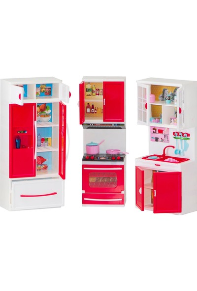 Kayyum Oyuncak Modern Kıtchen Kırmızı Beyaz Renkli Işıklı Sesli 3'lü Mutfak Seti Lavobalı