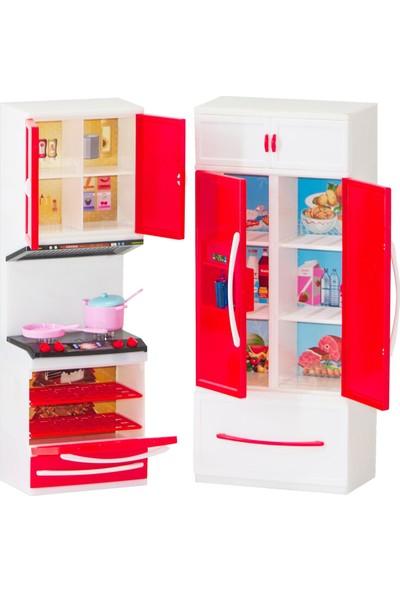 Kayyum Oyuncak Modern Kıtchen Kırmızı Beyaz Renkli Işıklı Sesli 2'li Mutfak Seti Ocaklı