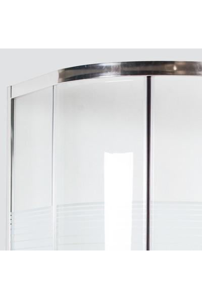 Durul Duşakabin 90 x 90 cm Oval Çizgili Desen Duş Teknesiz