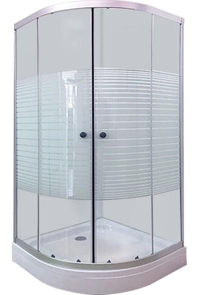 Durul Duşakabin 90 x 90 cm Oval Çizgili Cam Mat Profil Duş Teknesiz