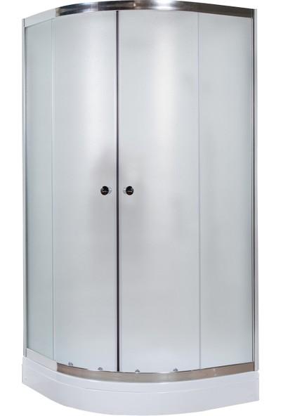 Durul Duşakabin 90 x 90 cm Oval Buzlu Desen