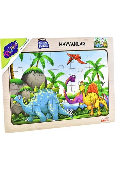 Playwood Ahşap Eğitici Puzzle Hayvanlar Dinazor