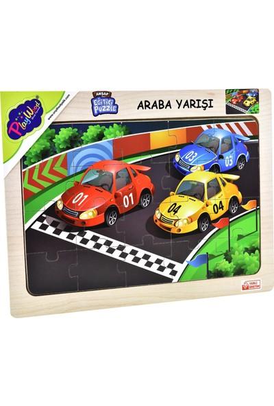 Playwood Ahşap Eğitici Puzzle Araba Yarışı