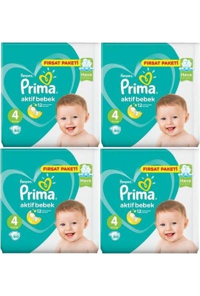 Prima Aktif Bebek Bezi 4 Numara 60 Adet Fırsat Paketi 4'lü