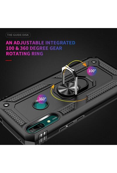 KNY Huawei Y9 Prime 2019 Kılıf Çift Katmanlı Yüzüklü Manyetik Vega Kapak + Cam Ekran Koruyucu Siyah
