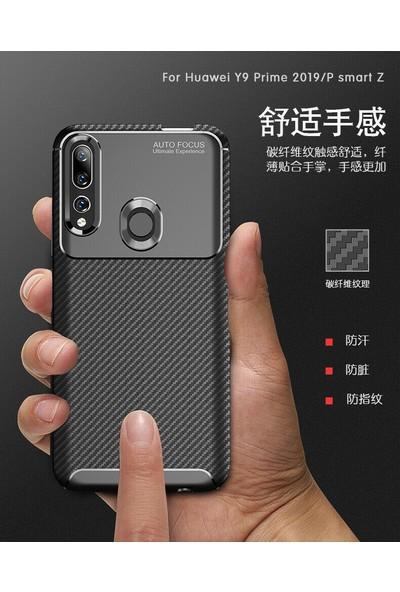 Happyshop Huawei Y9 Prime 2019 Kılıf Karbon Desenli Lux Negro Silikon + Cam Ekran Koruyucu Siyah