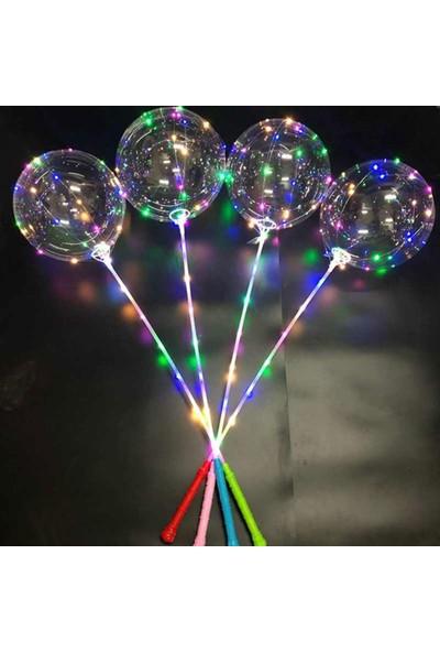 Tahtakale Toptancısı Işıklı Balon 3 Fonksiyonlu Transparent LED Şeffaf Balon Çubuklu