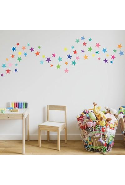 Areksan Reklam Renkli Yıldızlar Dekoratif Çocuk Odası Duvar Sticker 4,5 cm 80 Adet