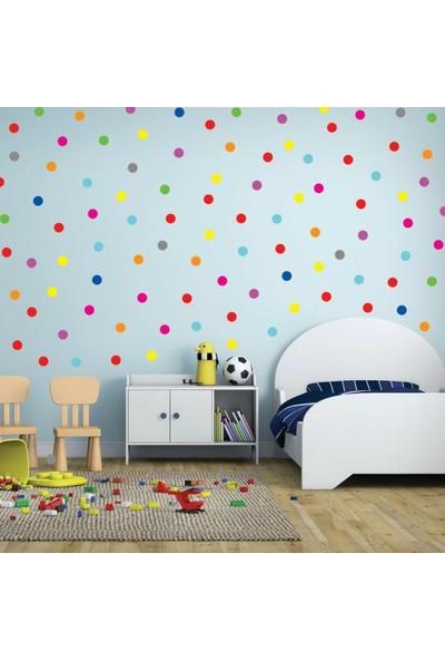 Areksan Reklam Renkli Yuvarlak Pots Puantiyeler Çocuk Odası Duvar Sticker 3 cm 250 Adet