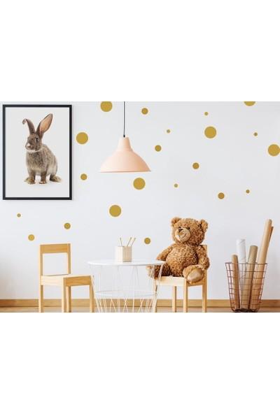 Areksan 3,4,5 cm Lik Altın Yaldız Dekoratif Puantiyeler Çocuk Odası Duvar Sticker 80 Adet 4,5 cm