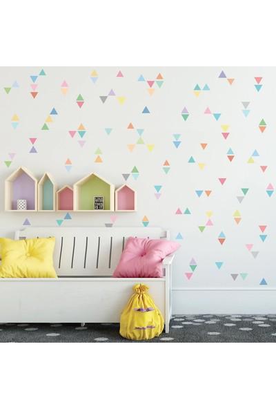 Areksan Reklam Renkli Üçgenler Dekoratif Çocuk Odası Duvar Sticker 4 cm 90 Adet