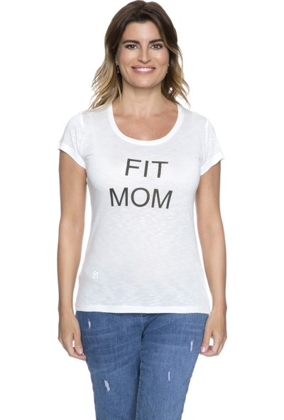 Fit21 Beyaz Basic T-Shirt Fit Mom