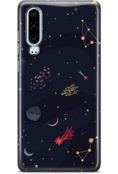 Lopard Huawei P30 Kılıf Silikon Arka Koruma Kapak Night Sky Desenli