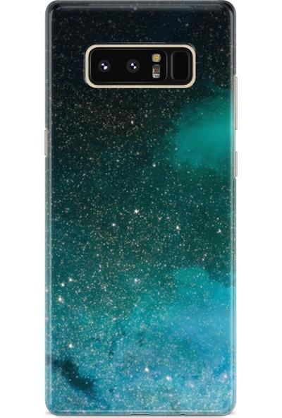 Lopard Samsung Galaxy Note 8 Kılıf Silikon Arka Koruma Kapak Yeşil Geceler Desenli