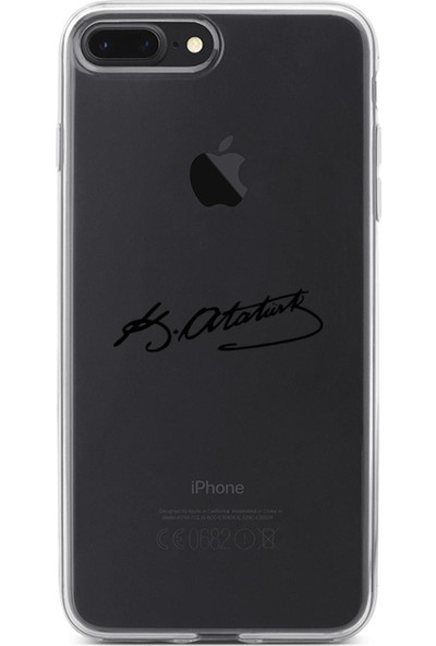 Lopard Apple iPhone 8 Plus Kılıf Silikon Arka Koruma Kapak Atatürk İmzası Desenli