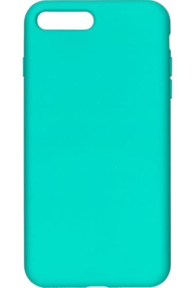 MAKT Apple iPhone 7 Plus / 8 Plus Soft Touch Silikon Kılıf Arka Kapak Turkuaz