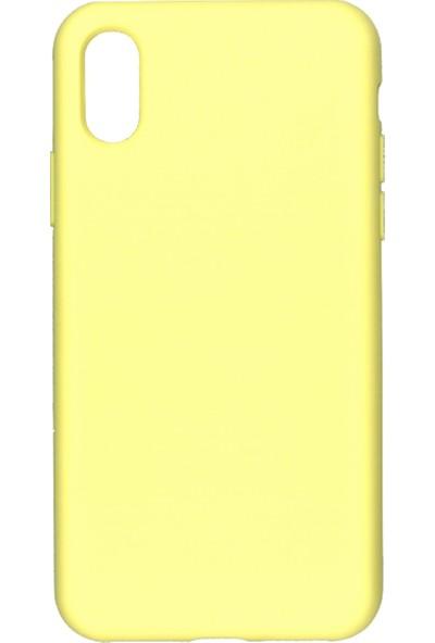 MAKT Apple iPhone X - XS Soft Touch Silikon Kılıf Arka Kapak Sarı