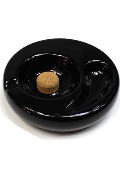 T-Bek Seramik Pipo Sehpalı Pipo Küllüğü Siyah Tekli