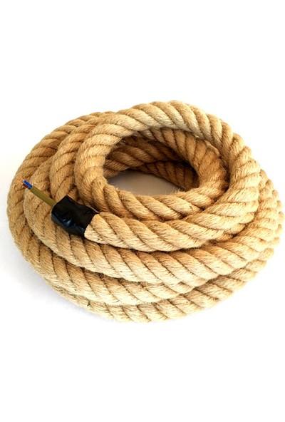 Marketcik Dekoratif Örgülü 2 cm Jut Hasır Halat Kablo 1 m