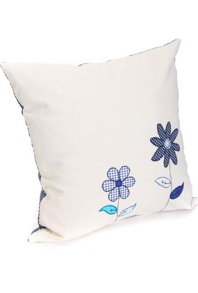 Baharın Renkleri Mavi Çiçekli Yastık Kılıfı