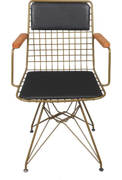 Akın Lüx Tel Kollu Minderli Sandalye Gold-Siyah