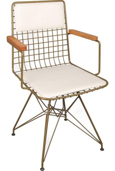 Akın Lüx Tel Kollu Minderli Sandalye Gold-Beyaz