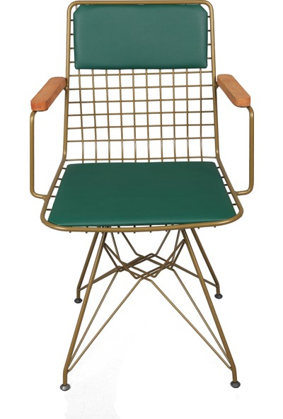 Akın Lüx Tel Kollu Minderli Sandalye Gold-Yeşil