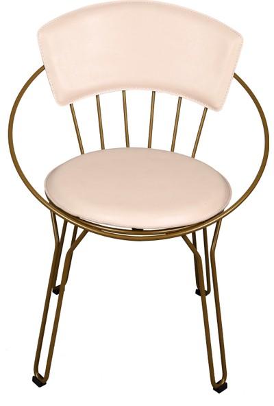 Akın Lüx Tel Oval Minderli Sandalye Gold-Beyaz