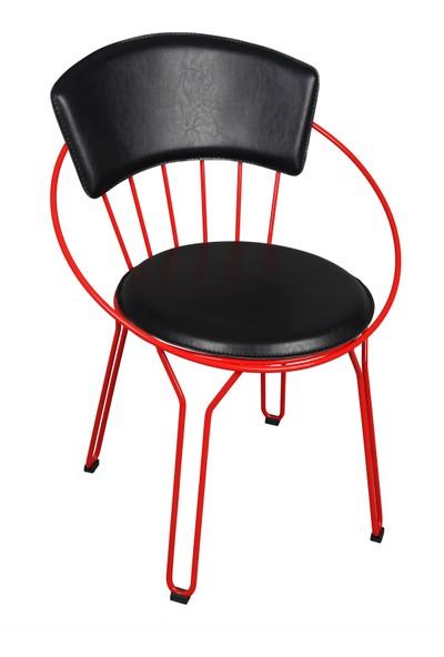 Akın Lüx Oval Siyah Kırmızı Minderli Sandalye