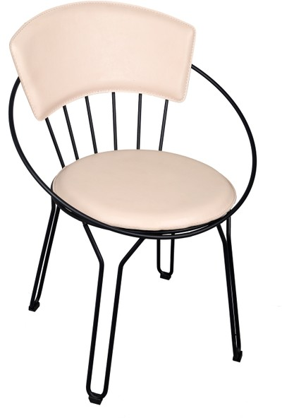 Akın Lüx Tel Oval Minderli Sandalye Gold-Siyah