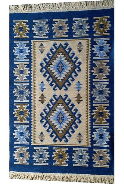 Uşak Kilimi - Mavi Renk Çift Taraflı Antik Tarz Eşme Desen Kilim Yolluk Lidya Tekstil - 80X150CM