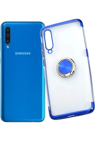 Redclick Samsung Galaxy A50 Kılıf Yüzüklü Standlı Manyetik Silikon Gess Arka Kapak Mavi