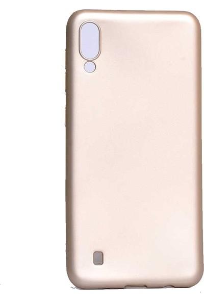 Redclick Samsung Galaxy M10 Mat Premium Silikon Kılıf Gold + Cam Ekran Koruyucu