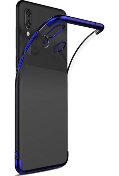 Redclick Xiaomi Redmi Note 7 Dört Köşeli Lazer Silikon Kılıf Mavi