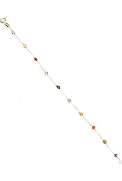 Dal Kuyumculuk 14 Ayar Sarı Altın Renkli Kristalize Bileklik