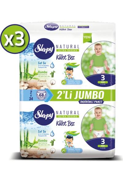 Sleepy Natural Külot Bez Ikili Jumbo 3 Numara 68X3 (204 Adet)
