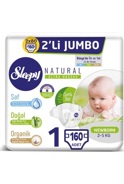 Sleepy Natural Bebek Bezi Ikili Jumbo 1 Numara 80X2 (160 Adet)