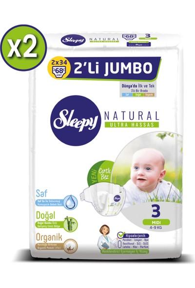 Sleepy Natural Bebek Bezi Ikili Jumbo 3 Numara 68X2 (136 Adet)